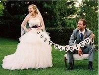 Spedizione Gratuita Just Married Wedding Vintage Bunting Bandiera Partito Decorazioni Prop FAI DA TE A Mano