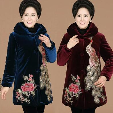 new arrival fashion Embroidery women's cotton-padded jacket winter medium-long gold velvet wadded jacket  plus size jacket