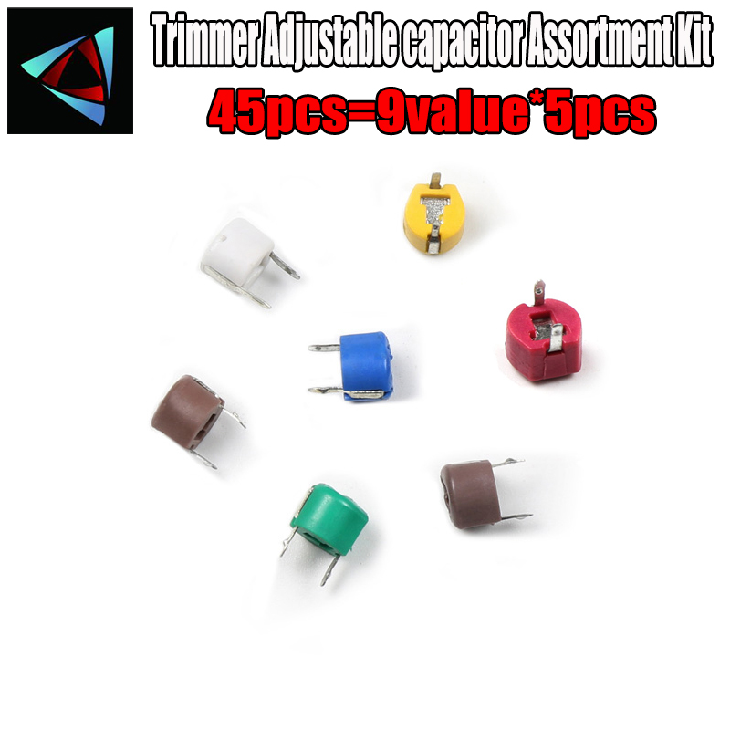 45 Pcs Trimmer Capacitor Kit Assorted 9 Values Adjustable Variable Capacitors L