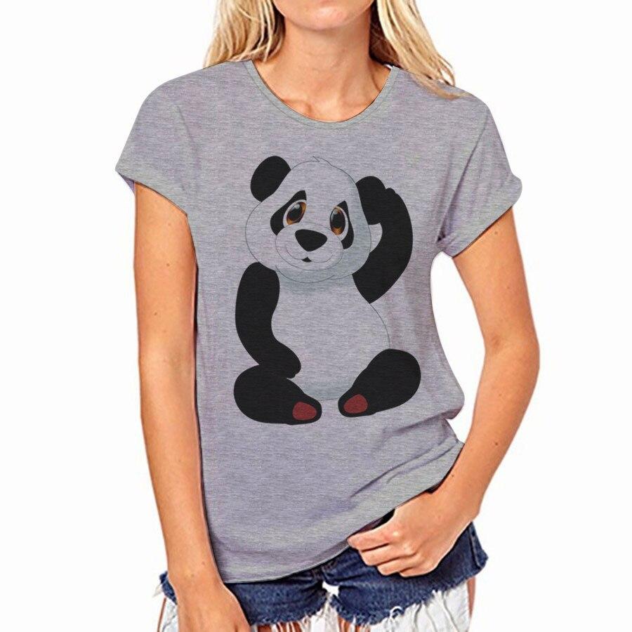 CDJLFH 2017 D'été Femmes T Shirt De Mode Panda Harajuku Impressions À Manches Courtes Col Rond T-shirts Blanc Gris Tops Shirt Femmes