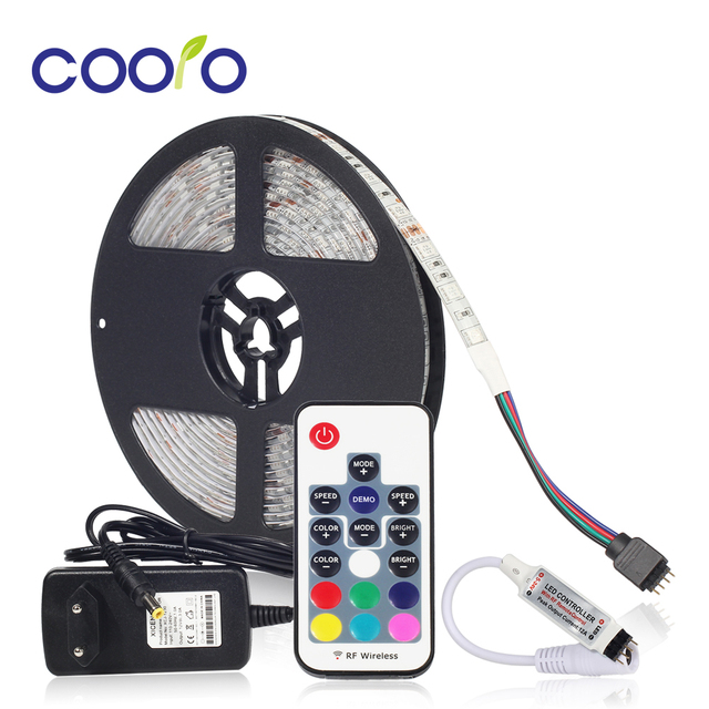 5050 RGB LED Strip Waterproof  5M 300LED DC 12V LED Light Strips Flexible Neon Tape with Remote RGB controller and 3A 36W Power