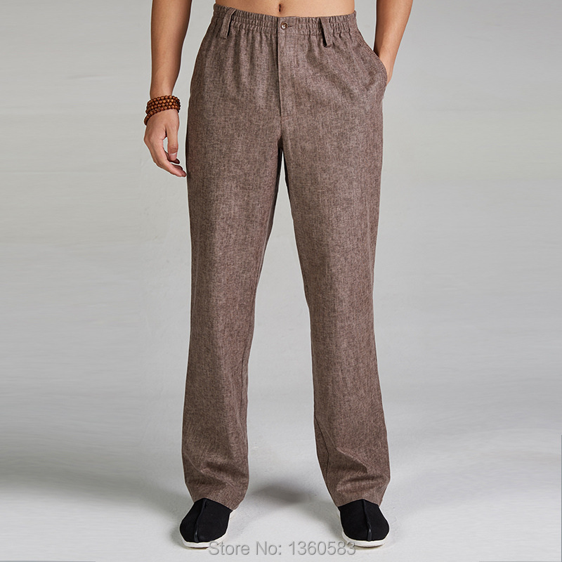 Высококачественные хаки традиционном китайском стиле людей хлопок лен кунг-фу брюки боевые искусства брюки размер ml XL XXL XXXL X508
