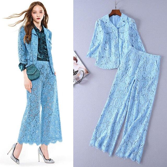 Pant Suits Ladies Elegant 2018 Early Autumn Lapel Single Breasted Slim Lace Jacket + Wide-leg Solid Colour Lace Pants 2PCS Set