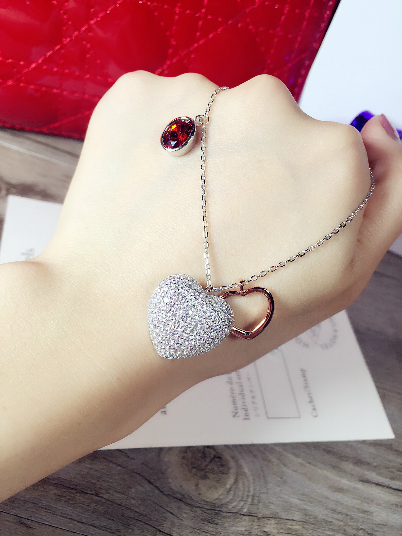 S925 double Silver Heart Necklace Shi big new large heart-shaped silver jewelry wholesale chain set heart shaped decor star chain bag