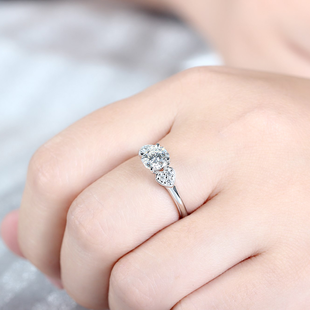 DOVEGGS 10K White Gold 1.12CTW 6.5mm Round Octagon H Near Colorless ...