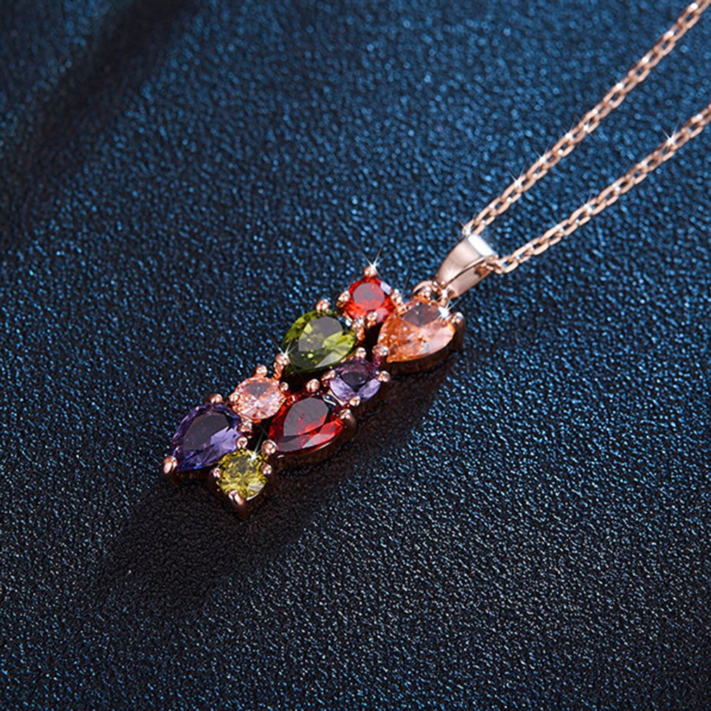 Kolye многоцветный кристалл кулон Цепочки и ожерелья для Для женщин минималистский Стиль ежедневно ювелирные украшения партии Аксессуары по...