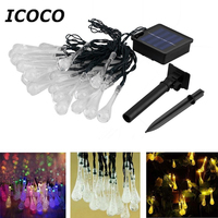 4 8m 20 LEDs Solar Power Water Drop Fairy String Light Christmas Party Wedding Festival Decor