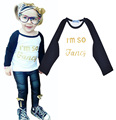 Baby Boy T-shirt 2016 Autumn New I'm so Fancy Girls T Shirt Long-sleeve Letter Printed Kids Clothes enfant vetement