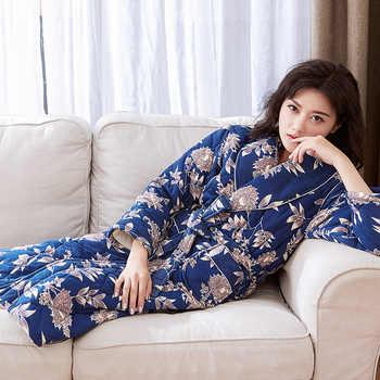 Women Robe Autumn Winter Warm Thick Long Sleeve Three-layer Quilted Robe Female Sleepwear Lounges Casual Homewear Pyjamas M-3XL