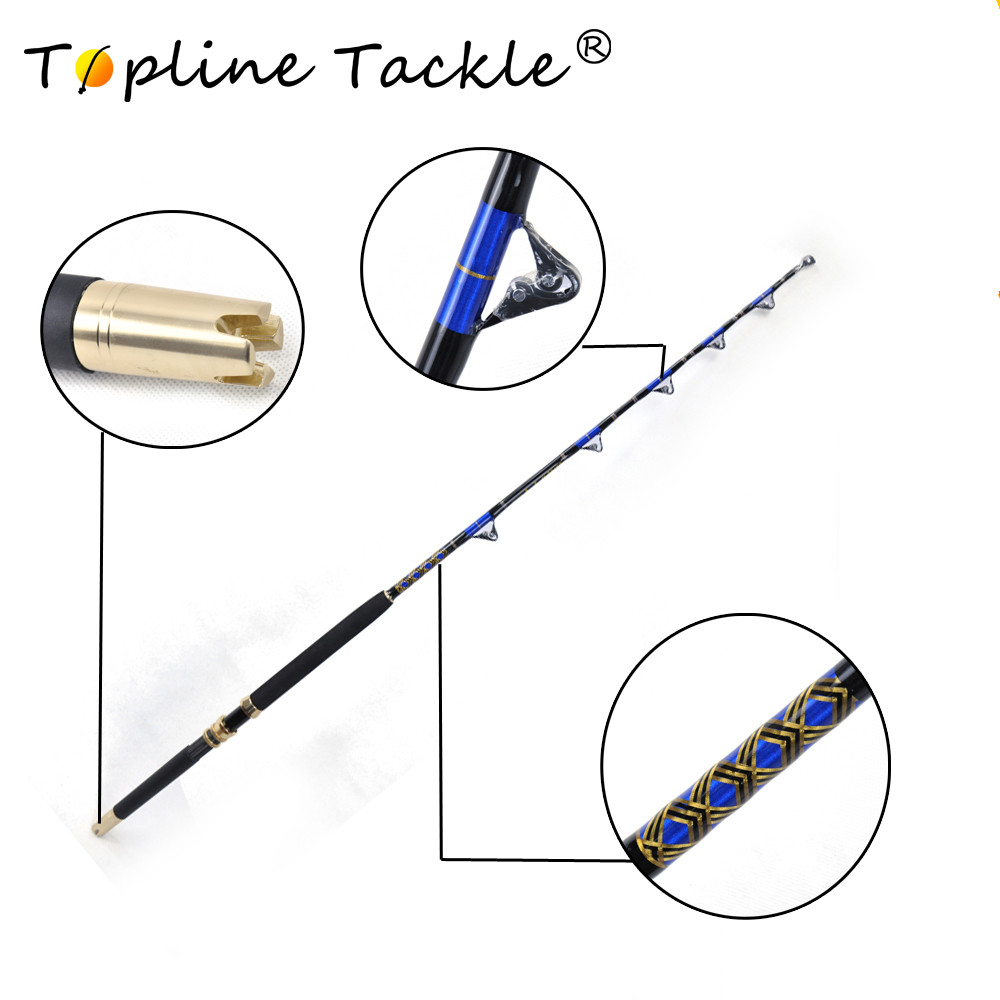 2018 FRP fishing trolling nylon butt 50-80LBS rod strong power double roller guides game trolling rod 50kgs 1.65m salwater rod bluewater carrot stix trolling pac bay guides med fast 6ft 6in
