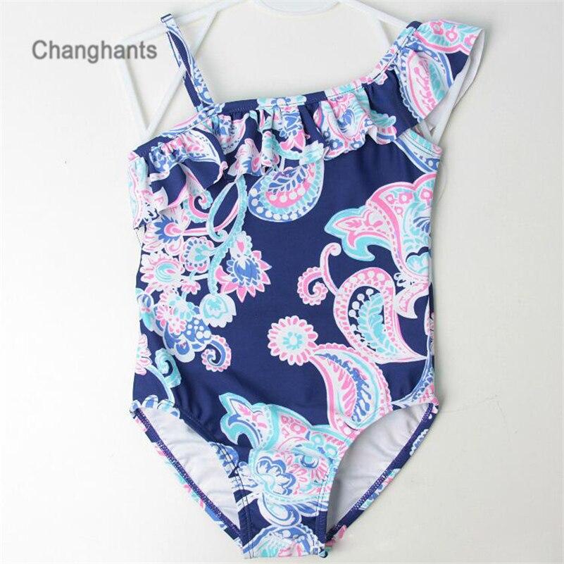 בייבי בנות בגדי ים כחול כהה פרח קלאסי תבנית 2-8 Y ילדים חתיכה אחת בגד ים ילדים רחצה בגדי שחייה