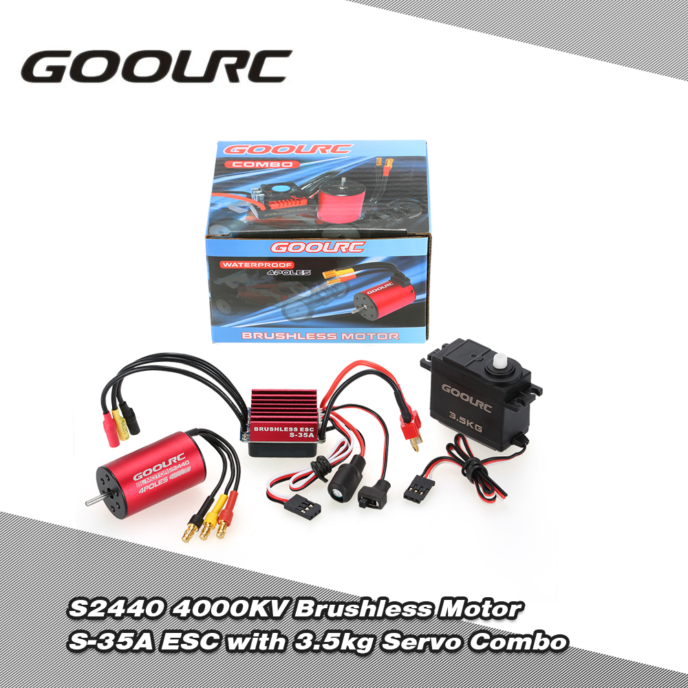 GOOLRC S2440 4000KV Brushless Motor S-35A ESC with 3.5kg Servo Upgrade Brushless Combo Set for 1/16 RC Car Truck цена и фото