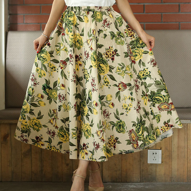 9d1e75275b3a New Fashion skirt cloud summer women big swing skirts bohemian Style linen  long skirts Ankle Length printed midi skirt women