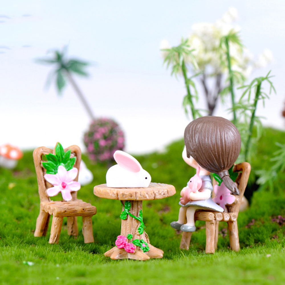 DIY Miniature Furniture Tables Chairs Sets For Mini Doll House Miniatures Furniture Toys Gifts 1/12 Dollhouse Accessories