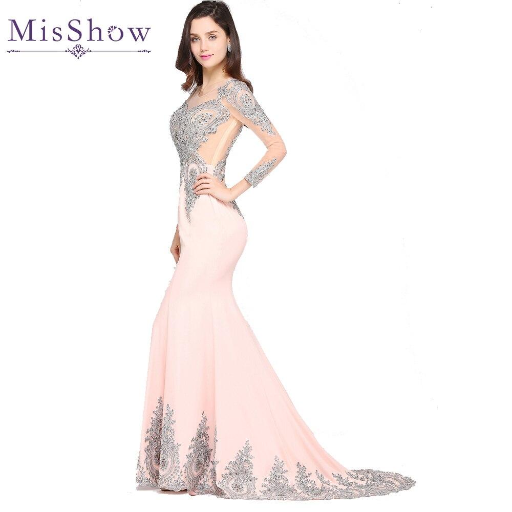 Robe de Soiree Pink Black Burgundy Kaftan Dubai Long Sleeve Lace Mermaid Evening Dresses 2018 Cheap Formal Party Evening Gowns