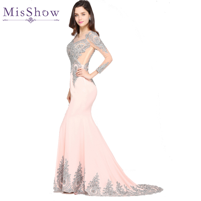 ab1ad2741aad7 US $62.99 37% OFF Robe de Soiree Pink Black Burgundy Kaftan Dubai Long  Sleeve Lace Mermaid Evening Dresses 2019 Cheap Formal Party Evening Gowns  -in ...