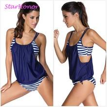 StarHonor Woman Striped Beach Swimsuit Bandage Double Layer Two-piece Bikini Set Push Up Strappy Bathing Suit Swimwear Plus Size