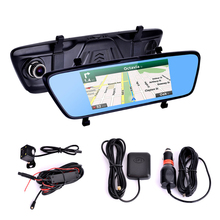 4G Dual Lens Full HD 1080P Car DVR 7 Inch Touch Remote Monitor Rear View Mirror with GPS and Camera Android WIFI Bluetooth  цена в Москве и Питере