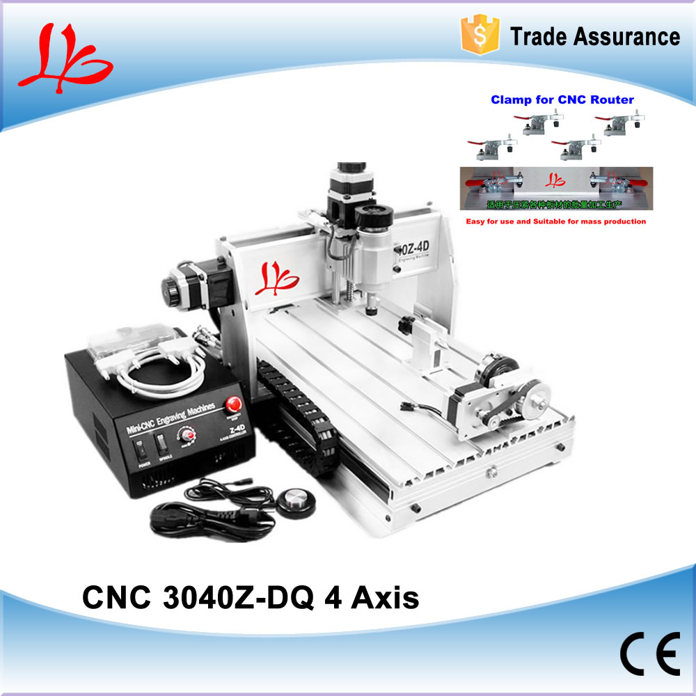 3D CNC Router 3040 Z-DQ CNC Milling Machine with with rotary axes, ball screw, auto-checking tool + 4 free cnc clamps free tax to russia 4 axis cnc 3040 z dq cnc engraving machine with ball screw design support 3d cnc router engraver