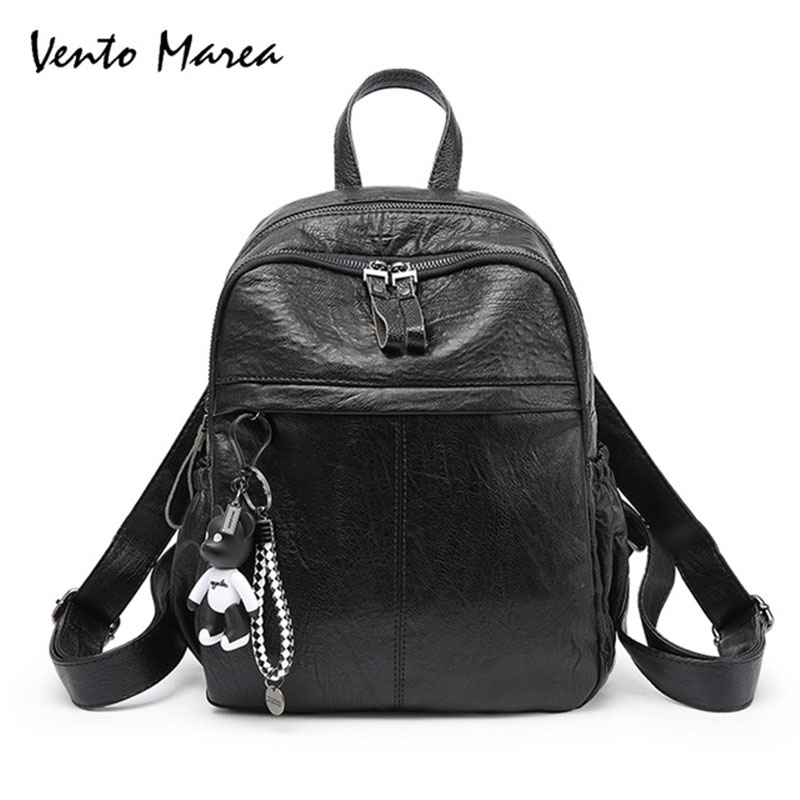 Vento Marea Women Backpacks PU Leather Backpack For Teenage Girls Female Zipper Bear Pendant School Backpack Mochila Escolar