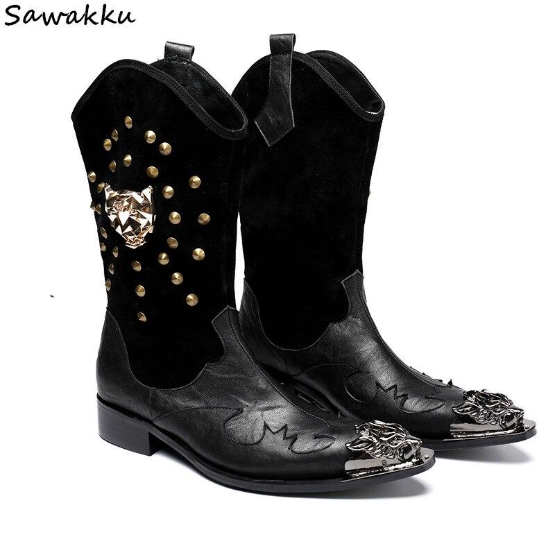 Cuir véritable hiver angleterre-style mi-mollet bottes métal Rivets crâne clouté rétro Punk Combat bottes noir chaussures décontractées hommes