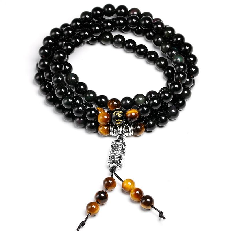 Natural Color obsidian Yoga Men 6mm 108 Beads Strand Bracelets Buddhism Six Words Mantra Buddha Tiger eye Bracelet For Women
