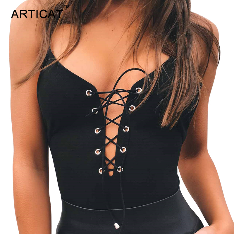 Articat Sexy Lace Up Bodysuit Frauen Sommer Tops Spaghetti Strap V-ausschnitt Backless Strampler Frauen Overall Party Bodycon Overalls