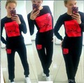 2015 European and American style new sportswear block letters printed long-sleeved casual sportswear set 6 color