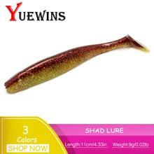 Купить с кэшбэком YUEWINS 2PcsSoft Fishing Lure 10.5cm 9.3g souple Shad Silicone Bait iscas artificiais Double Color Baits Swim Wobblers TP108