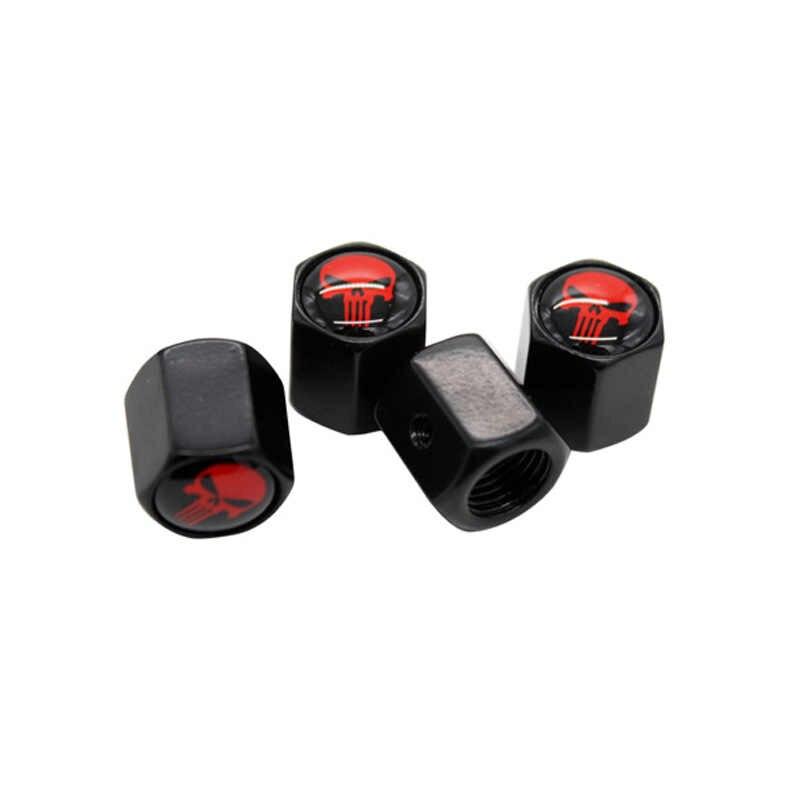 4 قطعة/المجموعة أسود اللون مكافحة سرقة صمام قبعات الأحمر الجمجمة شعار ل بيجو سيترون VW أودي BMW بنز مازدا تصفيف السيارة