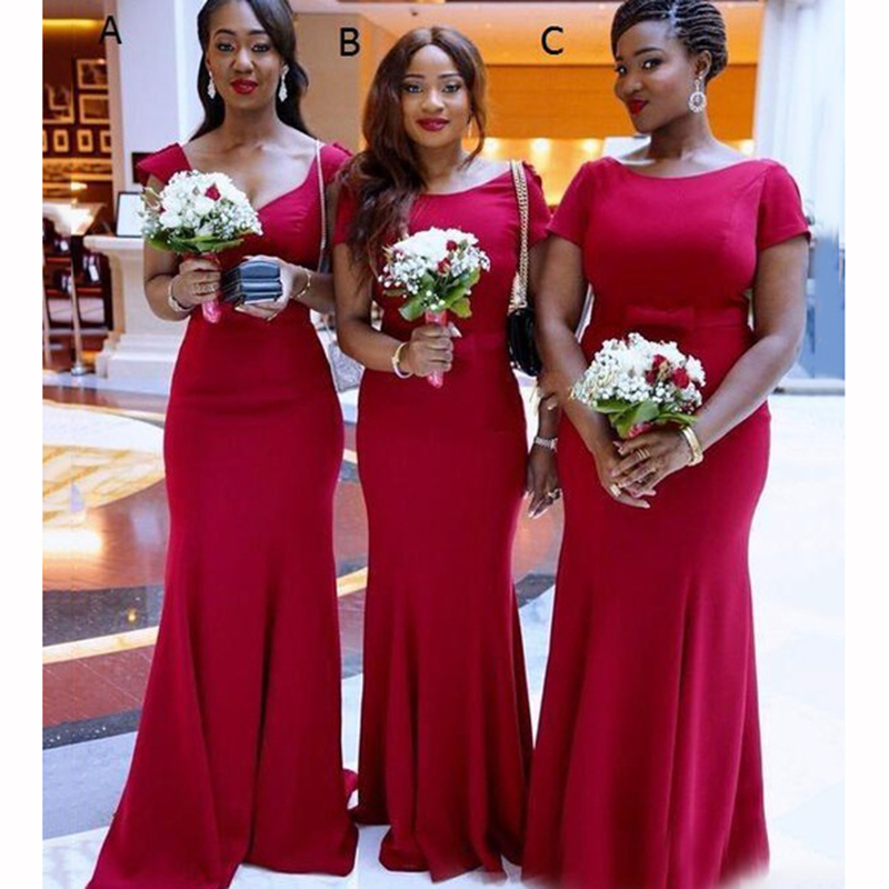 2020 Mermaid Short Sleeve Long Bridesmaid Dresses Plus Size Party Gowns Custom Made Maid Of Honor Dress