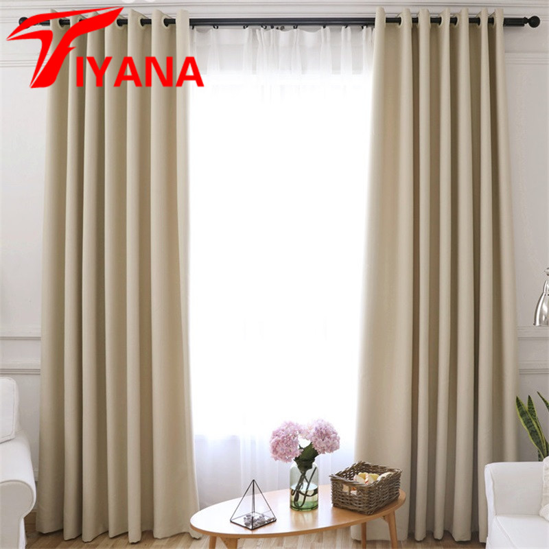 High Window Curtains: Solid Modern Blackout Curtains For Door Blinds Window