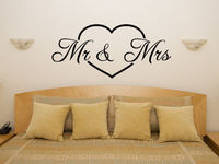 Os1636 Mr Mrs In Love Heart Motto Quote Bedroom Room Decal Wall Art Sticker Picture Free