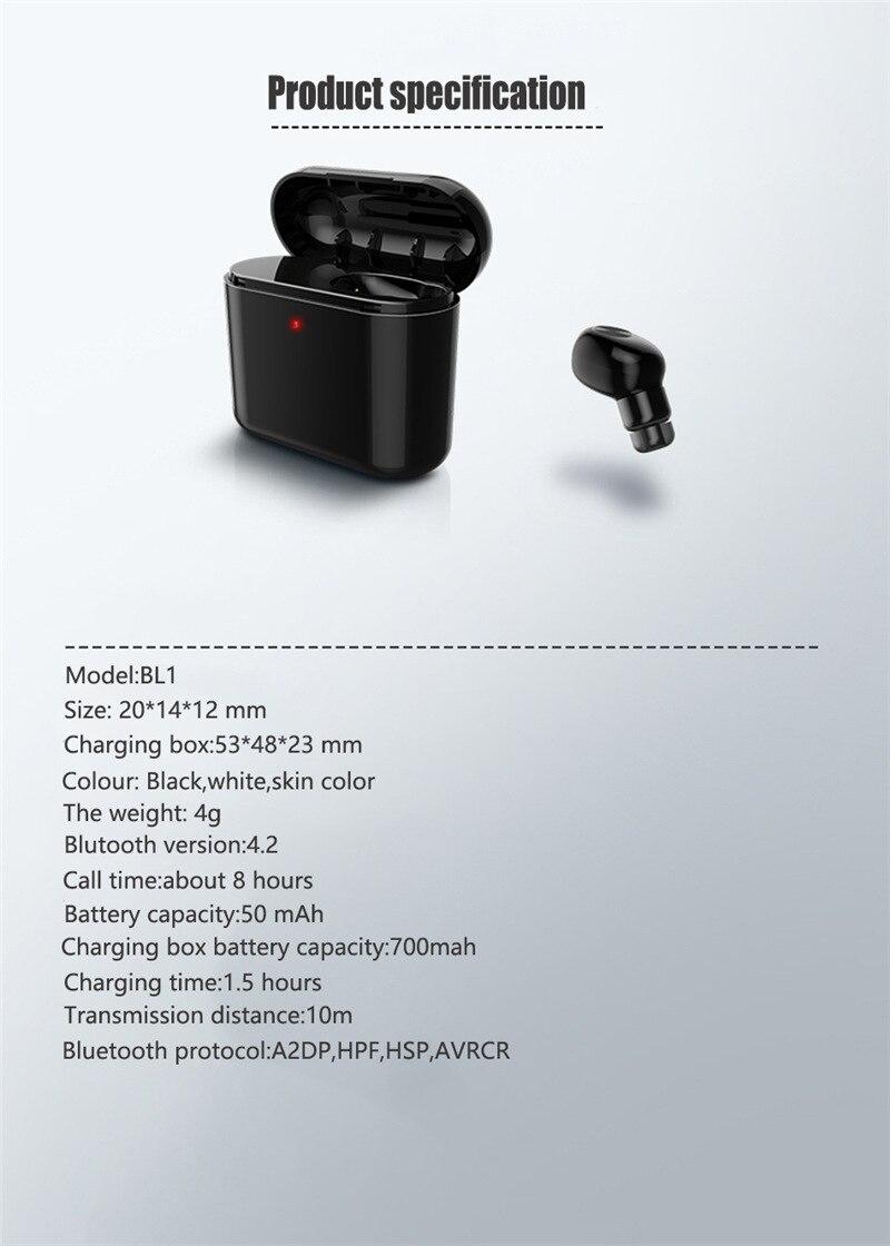 Newest Mini Wireless Bluetooth Earphone Sport Bluetooth in-ear TWS Head  phone wtih Mic 700mAh Charging Box