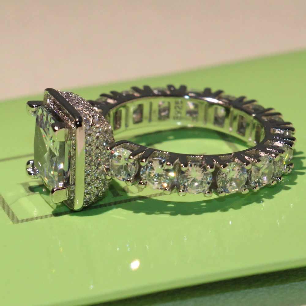 ขนาด5-10สัญญาแหวนแต่งงานวงสำหรับผู้หญิงเครื่องประดับแฟชั่นเจ้าหญิงตัด5A Cubic Z IrconiaสีขาวCZ 925เงินปูแหวนของขวัญ