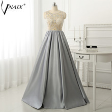 Vnaix P1170 Prom Dress Crystal Beaded Illusion Top Special Occasion Dresses Customized