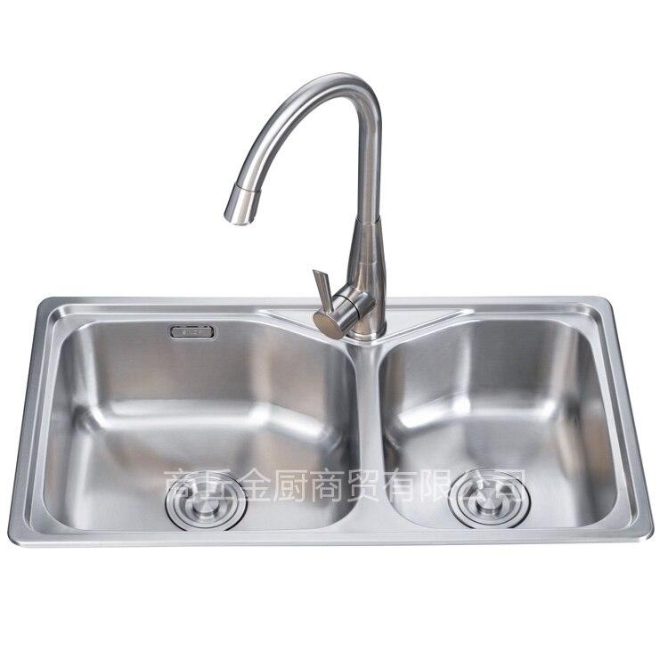 Évier épaissi de main d'acier inoxydable de 304, évier de bassin de comptoir de cuisine double bassin