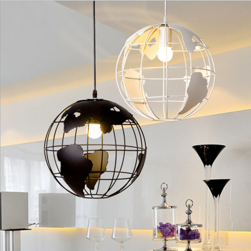 Modern Globe Pendant Lights Black/White Pendant Lamps for Bar/Restaurant Hollow Ball Ceiling Fixtures Pendant Light Globes