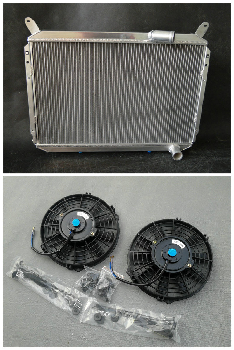All Aluminum Radiator 2 Fan For Nissan 1984 1989 300ZX 300 ZX 3 Row 85 86