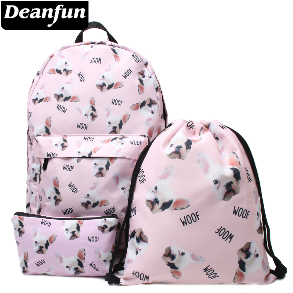 Deanfun 3PCS /set Backpack Animal Printed Pug Dog Cute Shoulder Schoolbags for Women instantarts cute children pug dog backpack men felt travel backpacks for teenege boys 3d animal printed student school bagpack