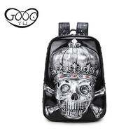 Dimensional relief design leather backpack women luxury brand duffle bag 3d silicone skull waterproof laptop backpack women bag
