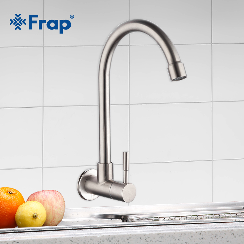 Frap Kitchen Faucet Mixers Sink Tap Wall Mounted  Single Cold Water Flexible 304 Stainless Steel Kitchen Tap Accessories Y40530