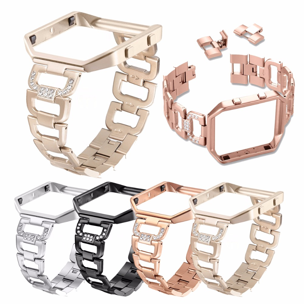 Fitbit Blaze Bands with Frame Stainless Steel Bands Rhinestone Bling Replacement Accessory Straps Black Silver Rose