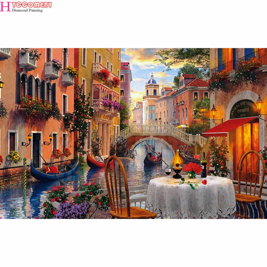 5d diamond painting Scenic modern city Venice full drill square diamond embroidery Cross stitch rhinestones Wedding decoration