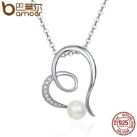 BAMOER Elegant 925 Sterling Silver Shimmering Heart Fresh Water Pearl Pendant Necklaces For Women Luxury Fine