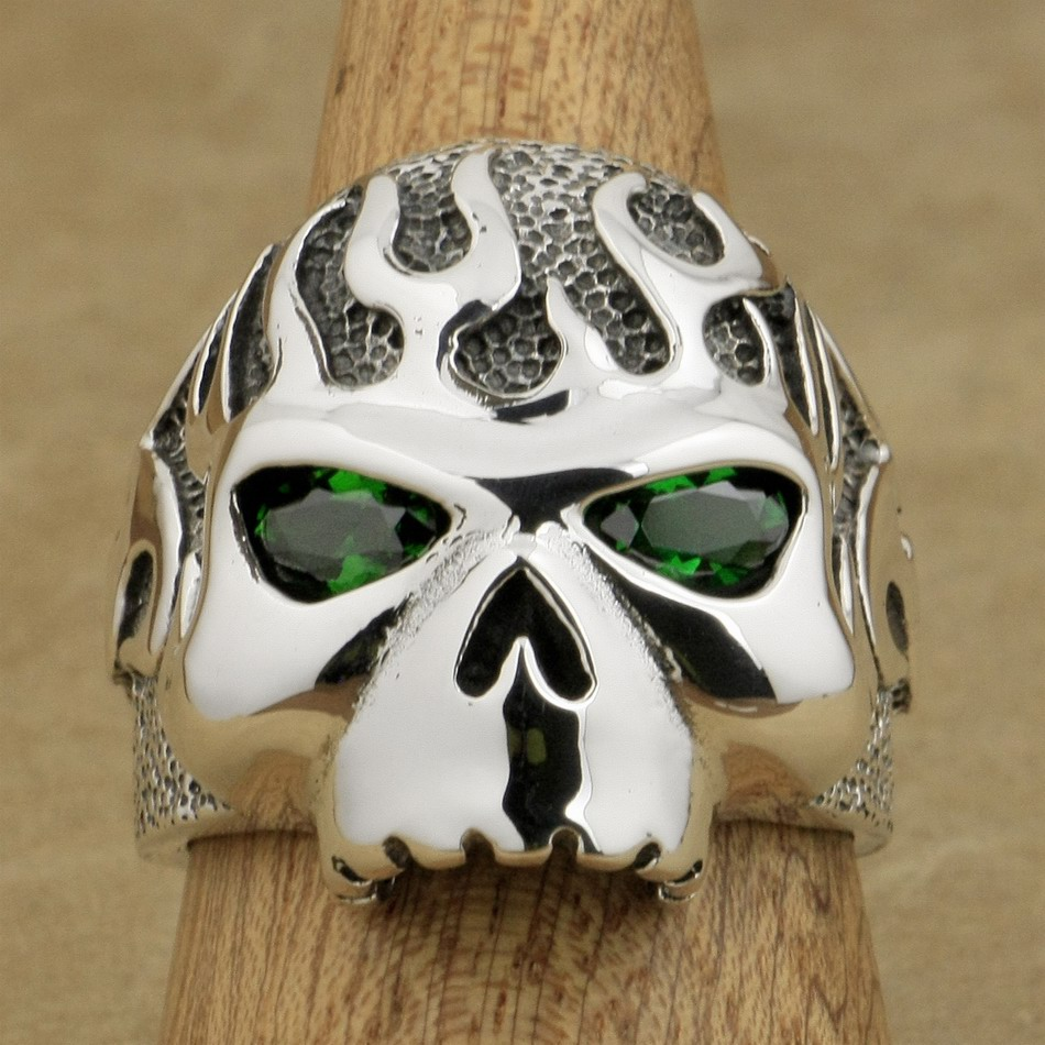 LINSION 925 Sterling Silver Fire Skull Ring Green CZ Eyes Mens Boys Biker Rock Punk Style 8D506 US Size 7~15 green cz eye 925 sterling silver skull ring mens biker punk style 8v306a us 8 15