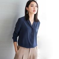 100% шелковая блузка Для женщин рубашка плюс Размеры Элегантные Простые Дизайн одежда с длинным рукавом офисные Топ Изящные Стиль Новый Мода