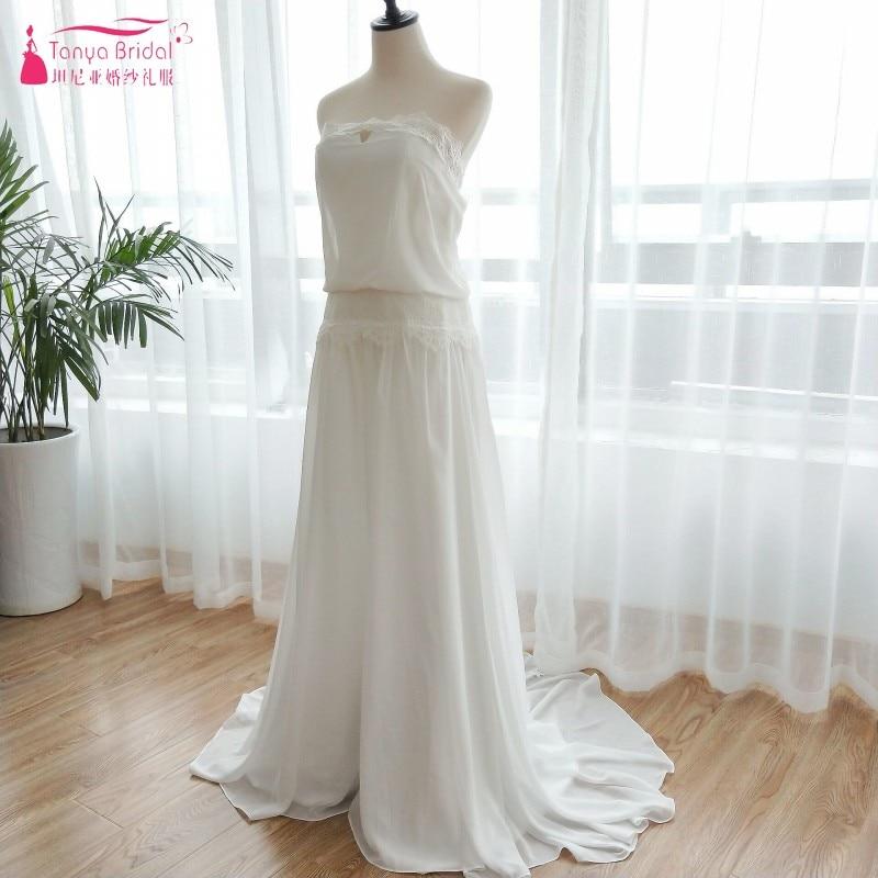 Vintage Dresses 1920s Beach Wedding Dress Cheap Dropped Waist Bohemian Strapless Backless Boho Bridal Gowns Lace