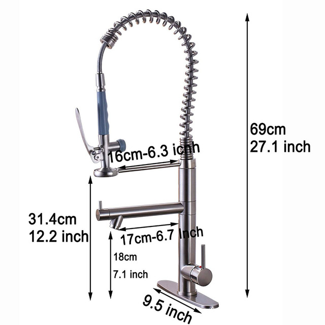 Bright Chrome Spring Pull Down Kitchen Faucet Hands Free Sprayer Head with Lock Hot cold Water Kitchen Mixer Tap Swivel Spout