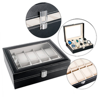 High Quality Holder Black Leather Watch Box with Foam Pad Luxury Fashion Display Case Classical Pillow Gift Box Storage
